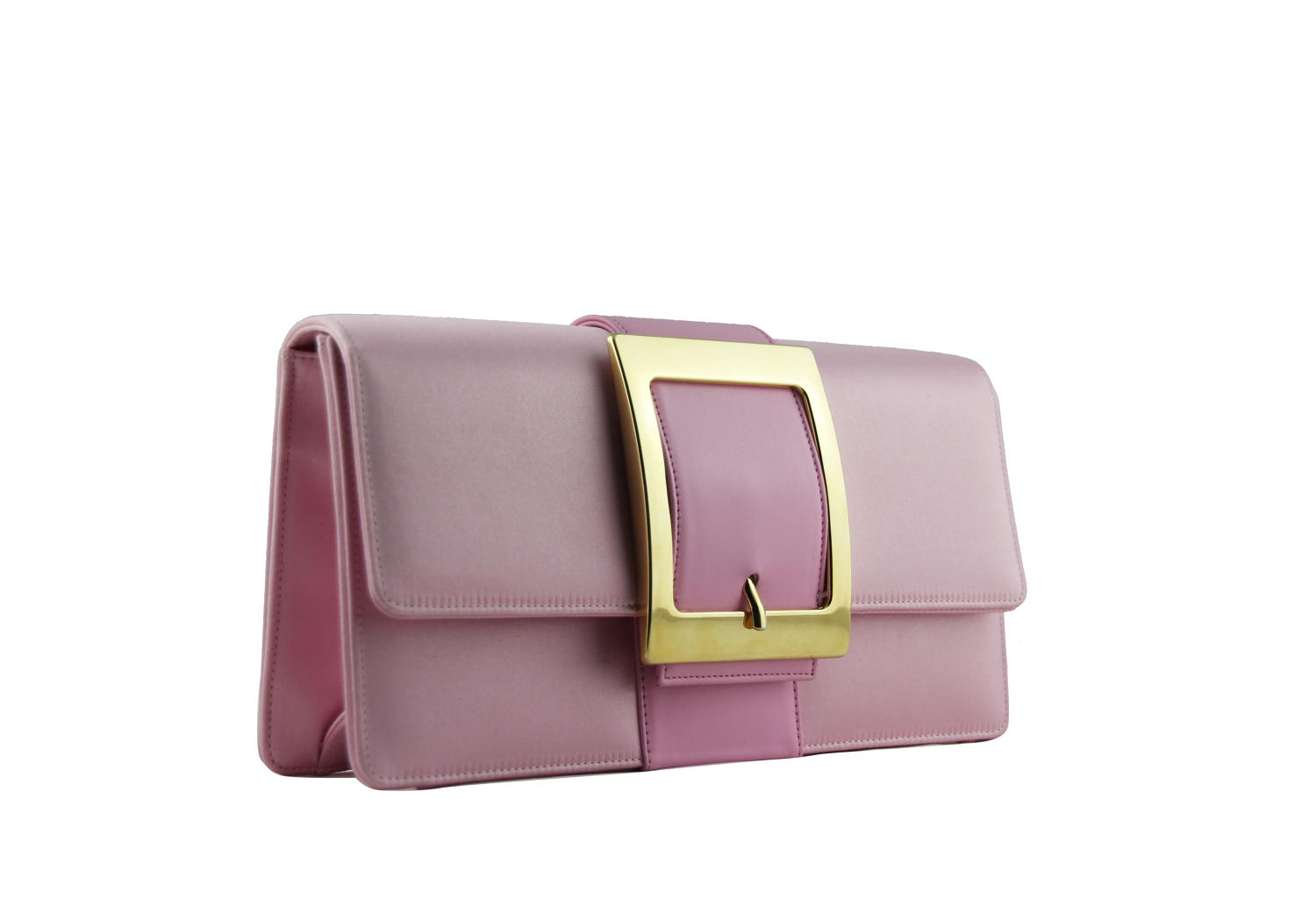 Satin and leather clutch bag